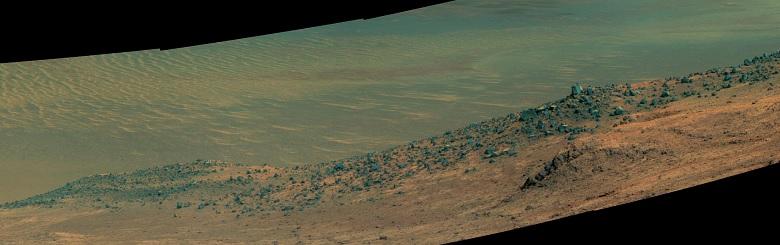 Udsigt over kløften i krater kanten hvor Opportunity lige nu afventer opklaring
