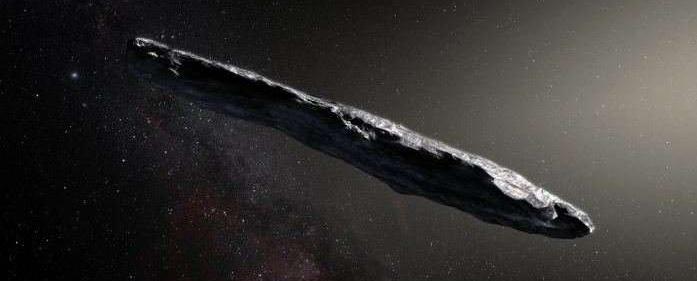 Den meget aflange interstellare asteroide eller komet Oumuamua
